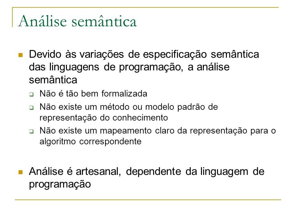 Análise semântica Devido às variações de especificação semântica das linguagens de programação, a análise semântica.