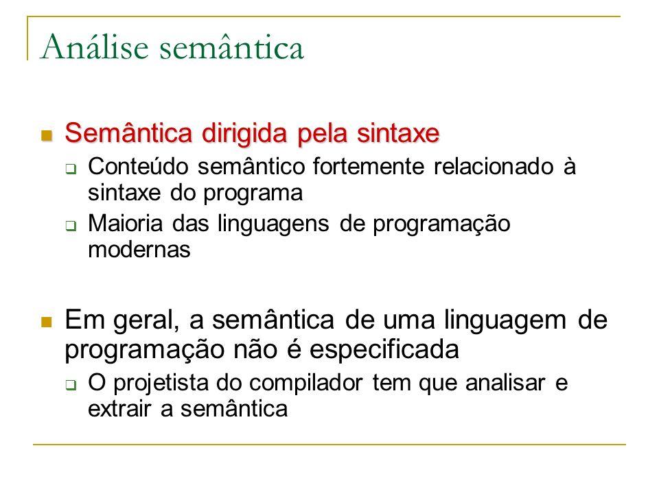 Análise semântica Semântica dirigida pela sintaxe