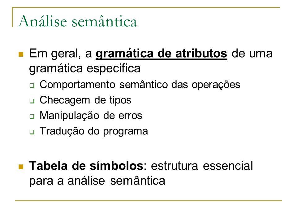 Análise semântica Em geral, a gramática de atributos de uma gramática especifica. Comportamento semântico das operações.