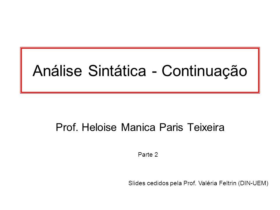 Análise Sintática - Continuação