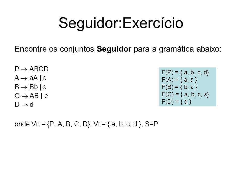 Seguidor:Exercício Encontre os conjuntos Seguidor para a gramática abaixo: P  ABCD. A  aA | ε. B  Bb | ε.