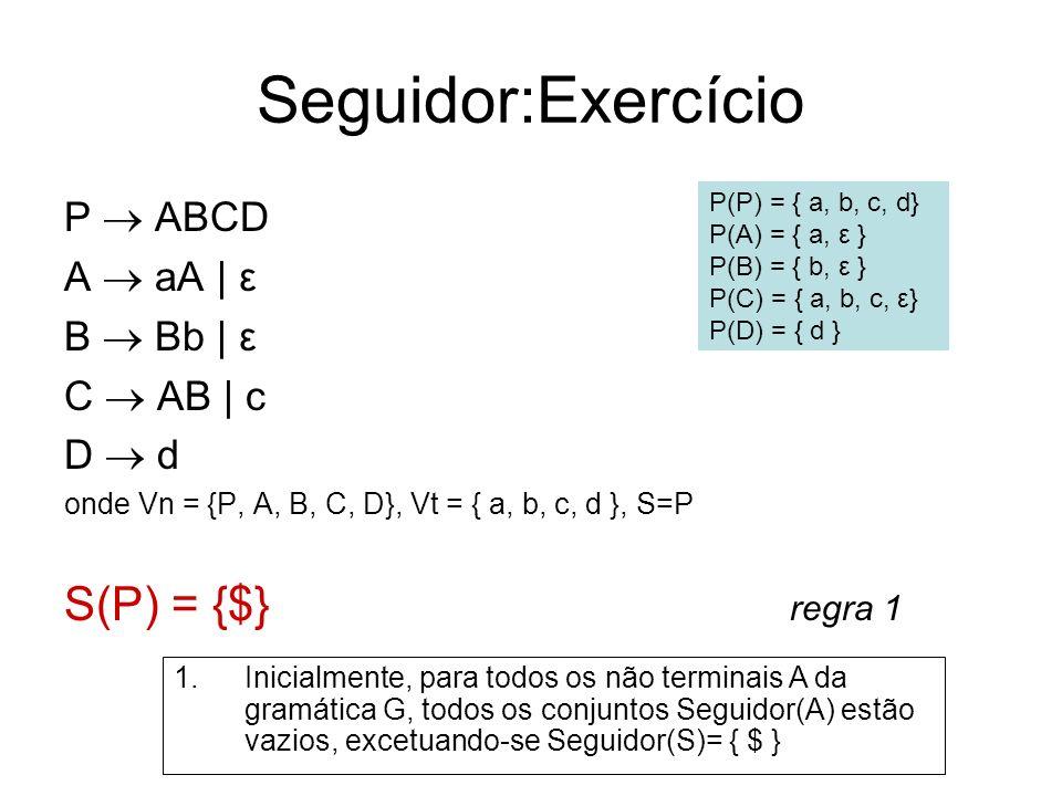 Seguidor:Exercício S(P) = {$} regra 1 P  ABCD A  aA | ε B  Bb | ε