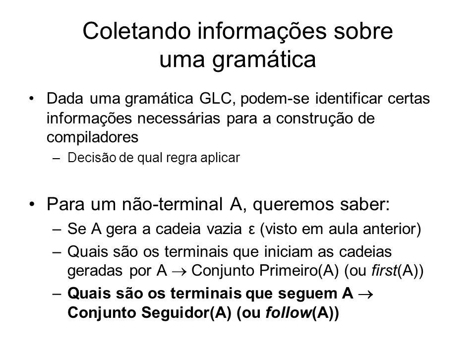 Coletando informações sobre uma gramática