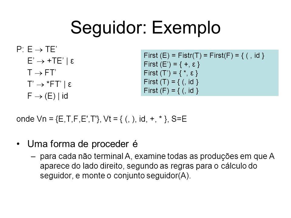 Seguidor: Exemplo Uma forma de proceder é P: E  TE' E'  +TE' | ε