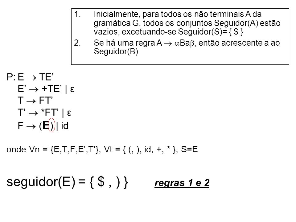 seguidor(E) = { $ , ) } regras 1 e 2