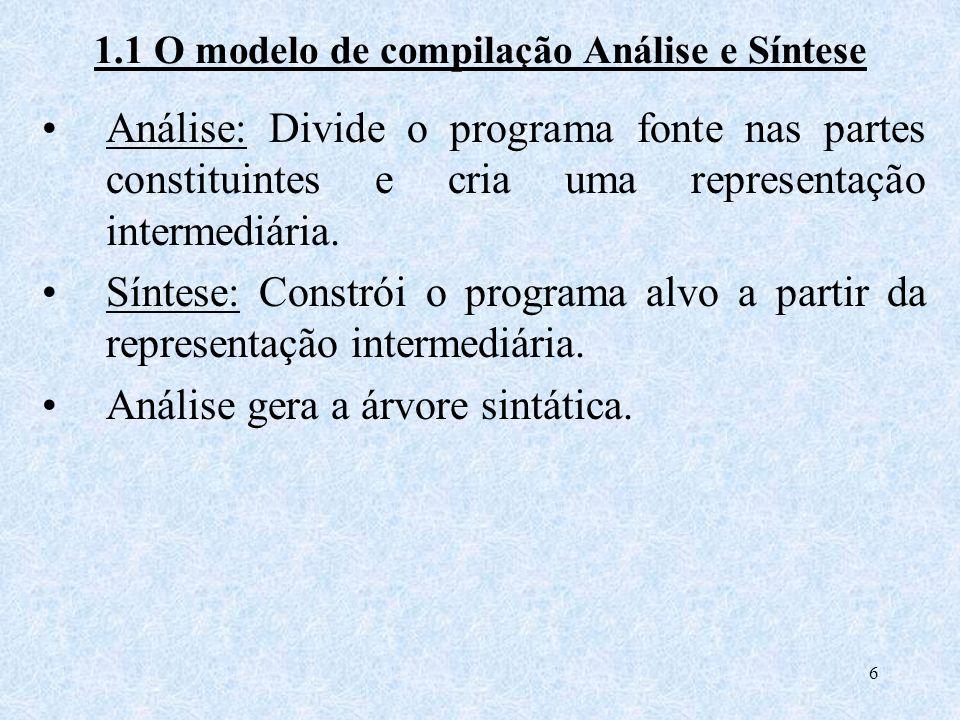 1.1 O modelo de compilação Análise e Síntese