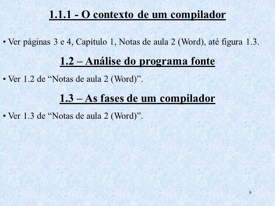 1.1.1 - O contexto de um compilador