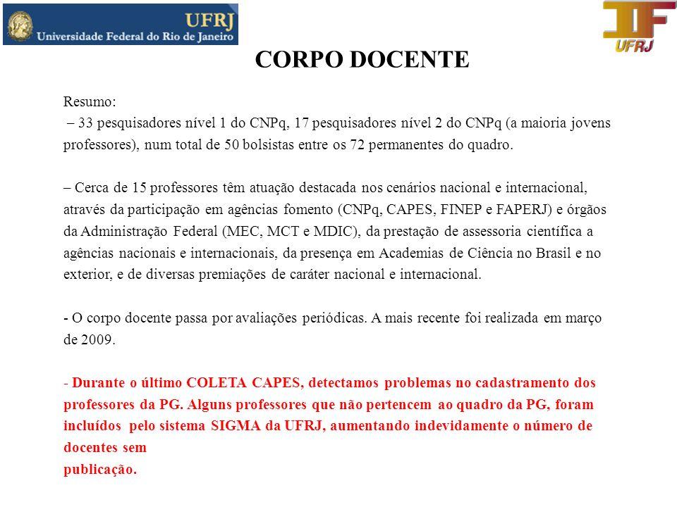 CORPO DOCENTE Resumo: – 33 pesquisadores nível 1 do CNPq, 17 pesquisadores nível 2 do CNPq (a maioria jovens.