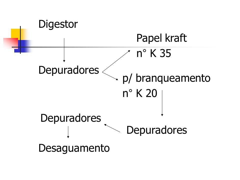 Digestor Papel kraft. n° K 35. Depuradores. p/ branqueamento. n° K 20. Depuradores. Depuradores.