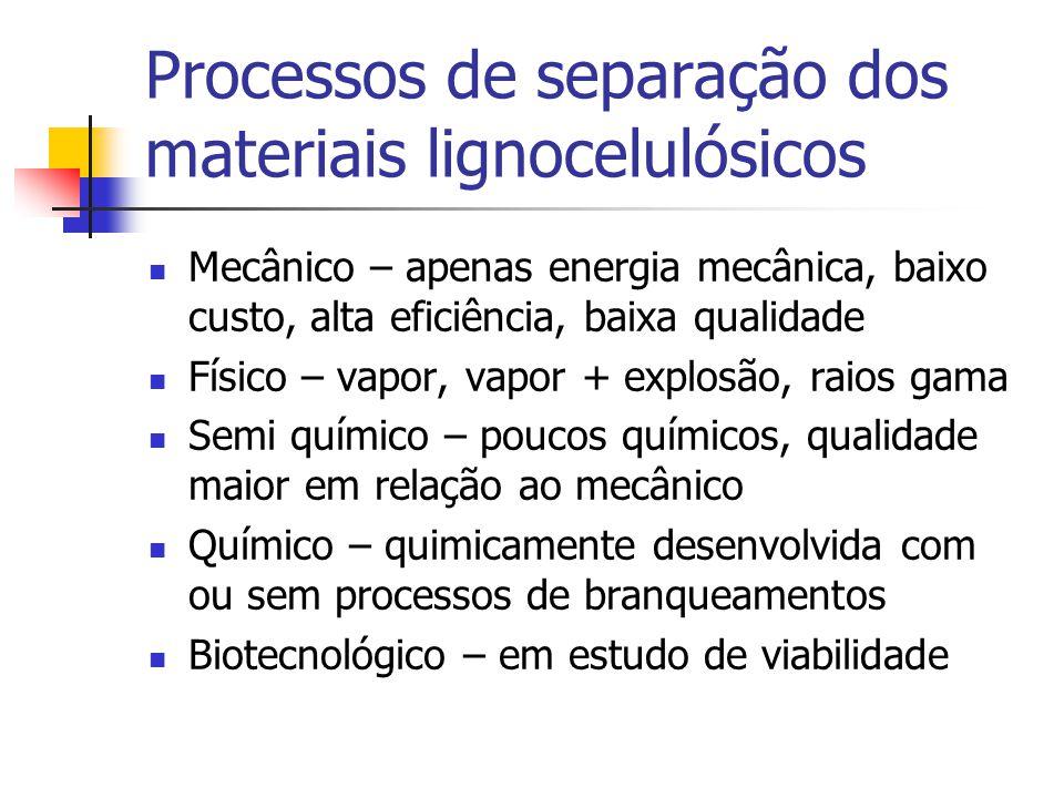 Processos de separação dos materiais lignocelulósicos