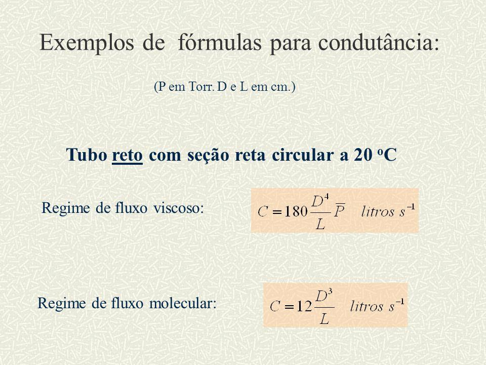 Exemplos de fórmulas para condutância: