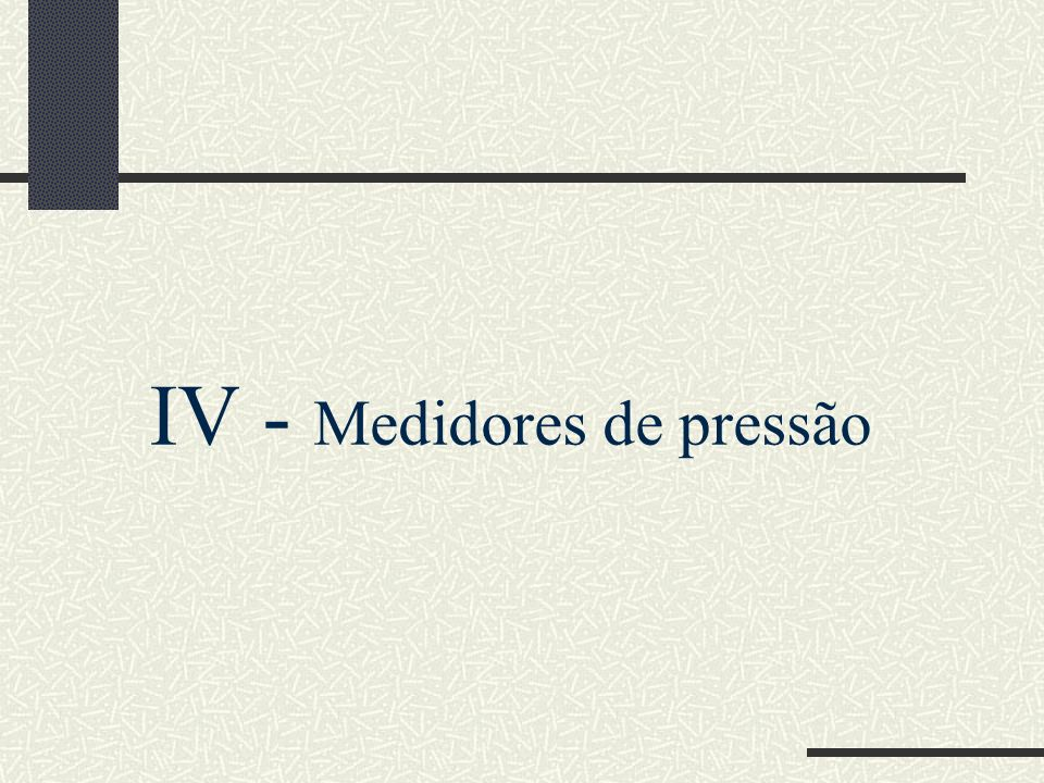 IV - Medidores de pressão