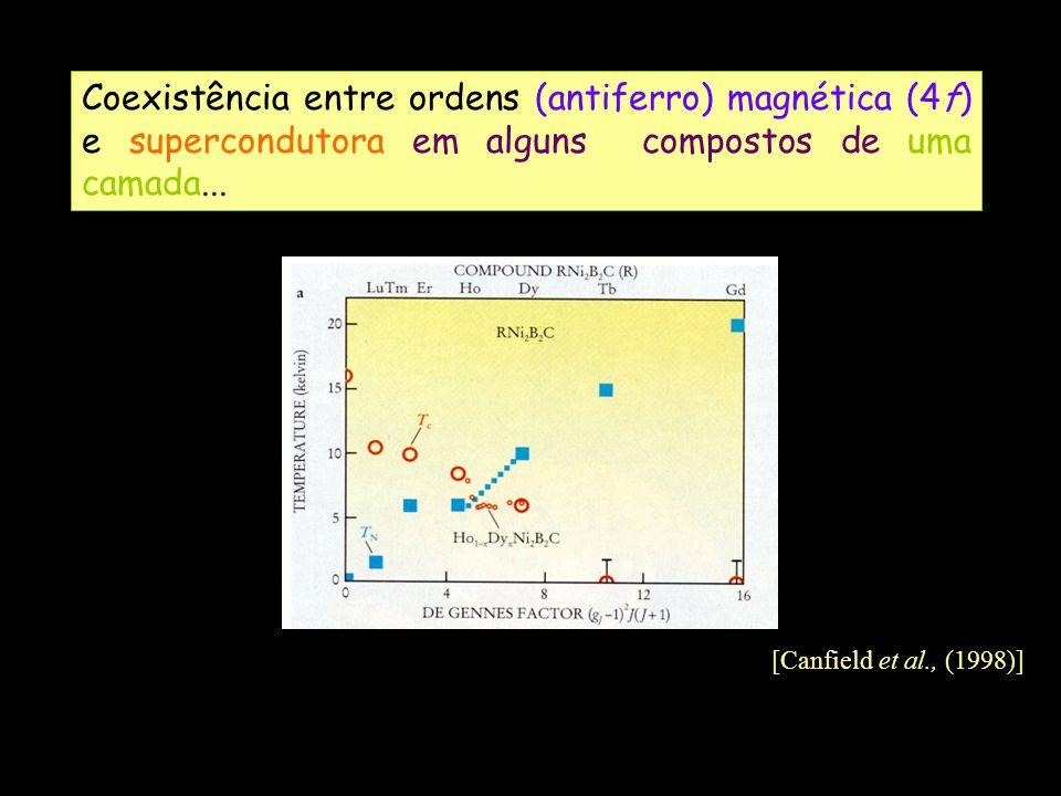 Coexistência entre ordens (antiferro) magnética (4f) e supercondutora em alguns compostos de uma camada...