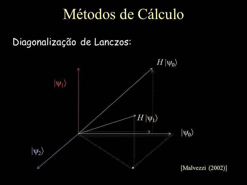 Métodos de Cálculo Diagonalização de Lanczos: H  1 H 1 