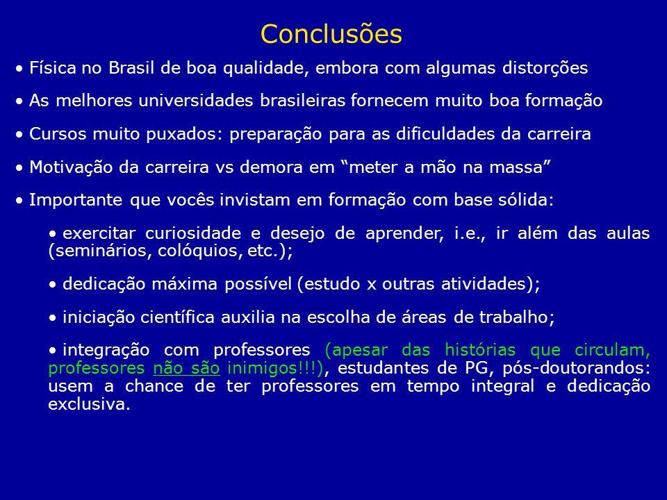 Conclusões Física no Brasil de boa qualidade, embora com algumas distorções. As melhores universidades brasileiras fornecem muito boa formação.