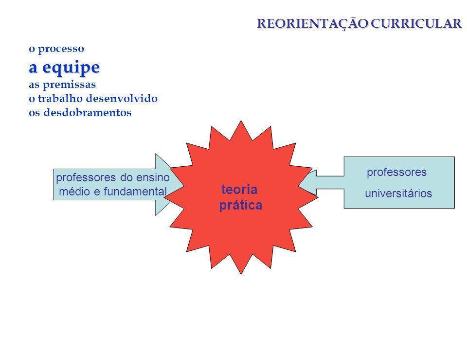 a equipe REORIENTAÇÃO CURRICULAR teoria prática o processo