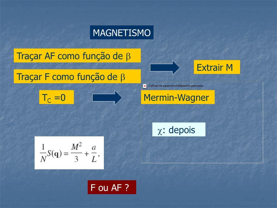 MAGNETISMO Traçar AF como função de  Extrair M. Traçar F como função de  TC =0. Mermin-Wagner.
