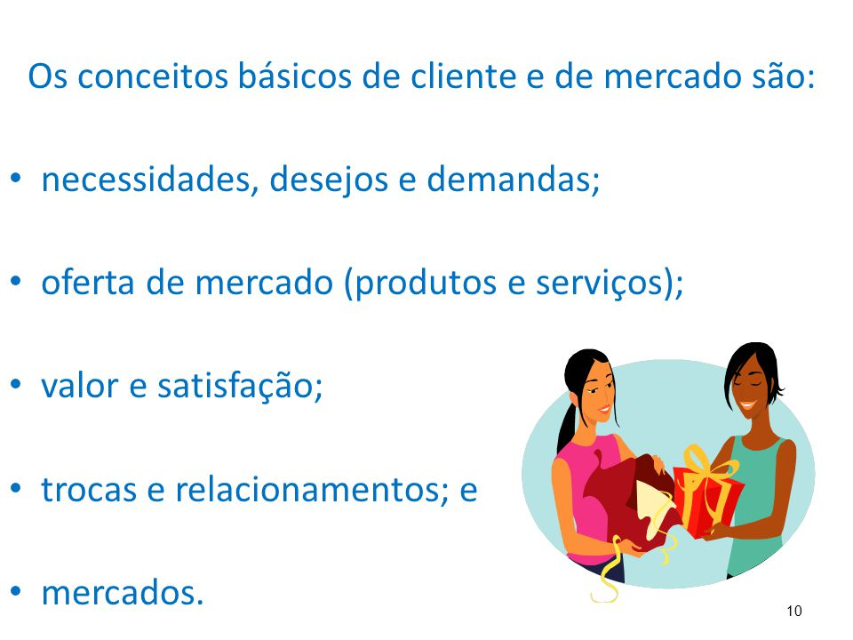 Os conceitos básicos de cliente e de mercado são: