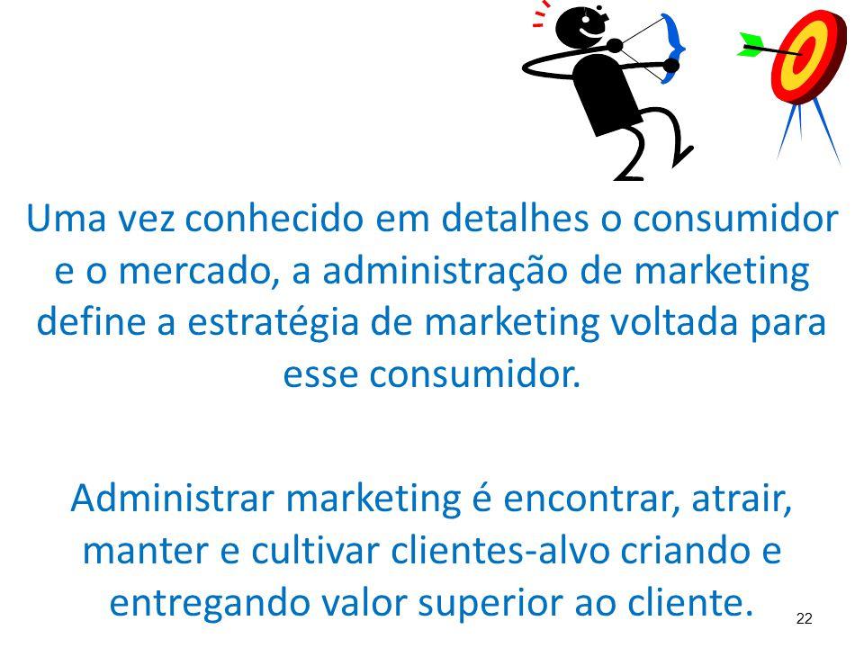 Uma vez conhecido em detalhes o consumidor e o mercado, a administração de marketing define a estratégia de marketing voltada para esse consumidor.