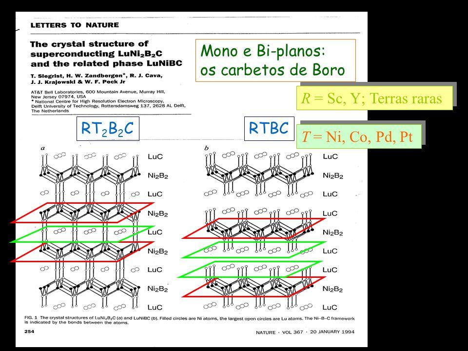 Mono e Bi-planos: os carbetos de Boro RT2B2C RTBC R = Sc, Y; Terras raras T = Ni, Co, Pd, Pt