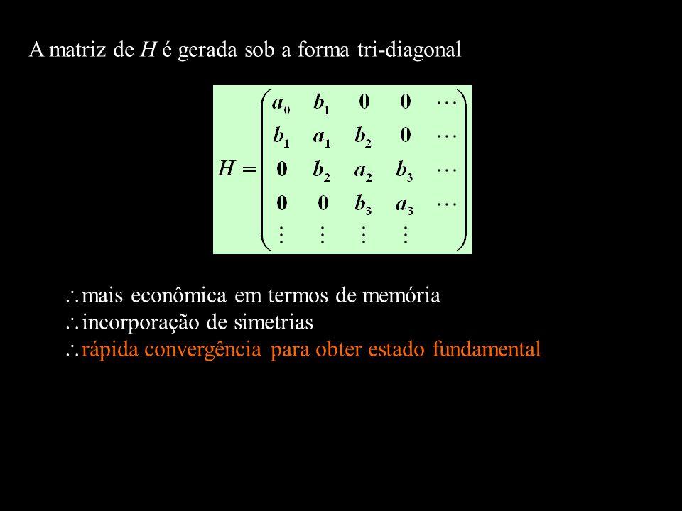 A matriz de H é gerada sob a forma tri-diagonal