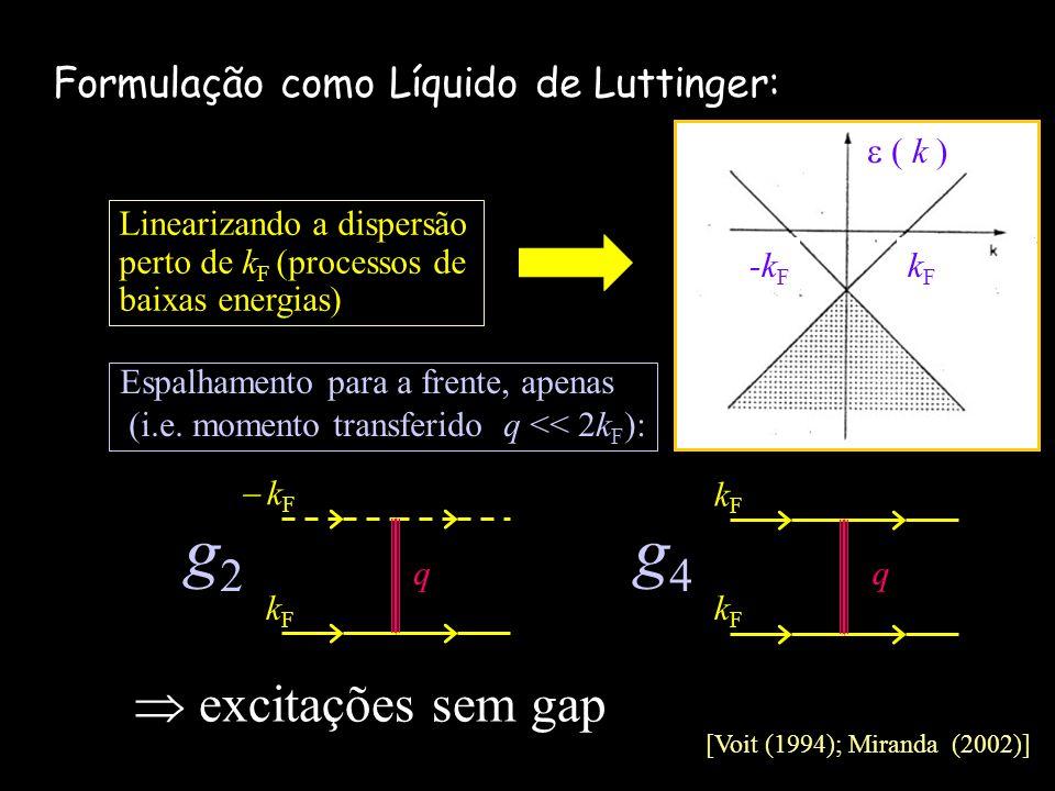 g2 g4  excitações sem gap Formulação como Líquido de Luttinger: kF