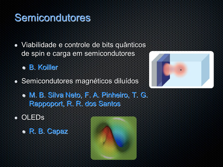 Semicondutores Viabilidade e controle de bits quânticos de spin e carga em semicondutores. B. Koiller.