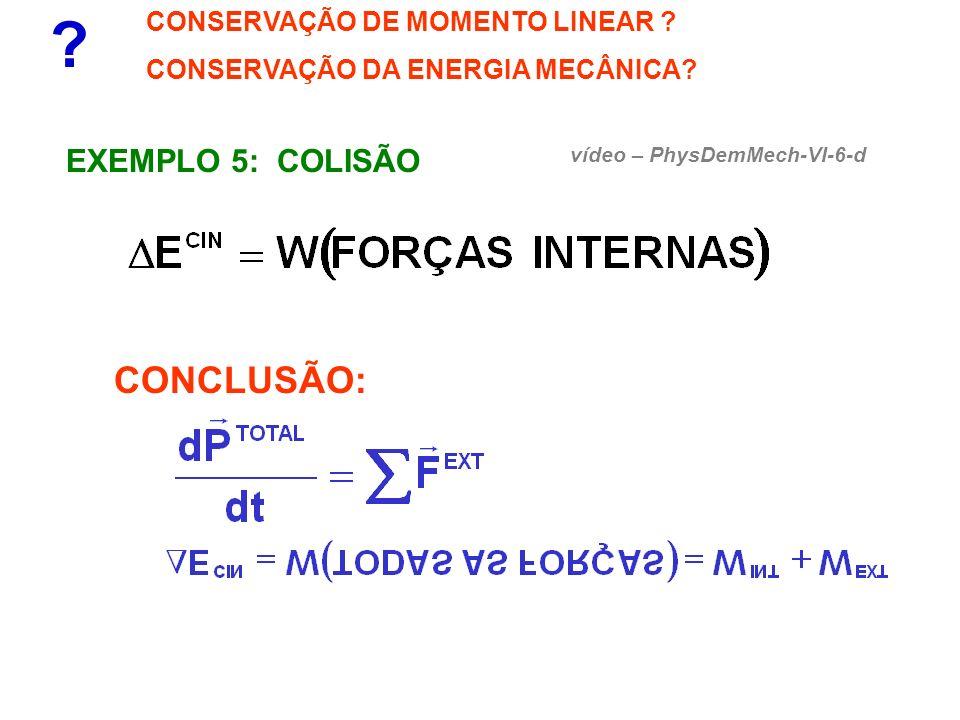 CONCLUSÃO: EXEMPLO 5: COLISÃO CONSERVAÇÃO DE MOMENTO LINEAR
