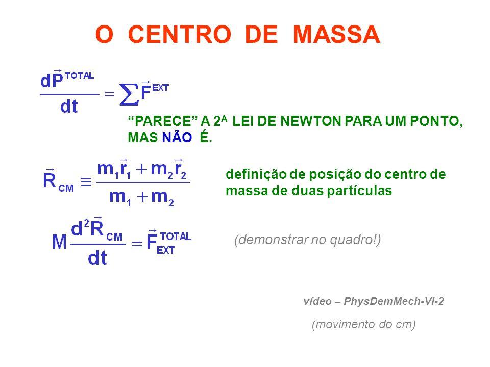 O CENTRO DE MASSA PARECE A 2A LEI DE NEWTON PARA UM PONTO, MAS NÃO É. definição de posição do centro de massa de duas partículas.