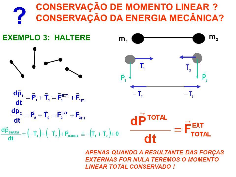 CONSERVAÇÃO DE MOMENTO LINEAR CONSERVAÇÃO DA ENERGIA MECÂNICA