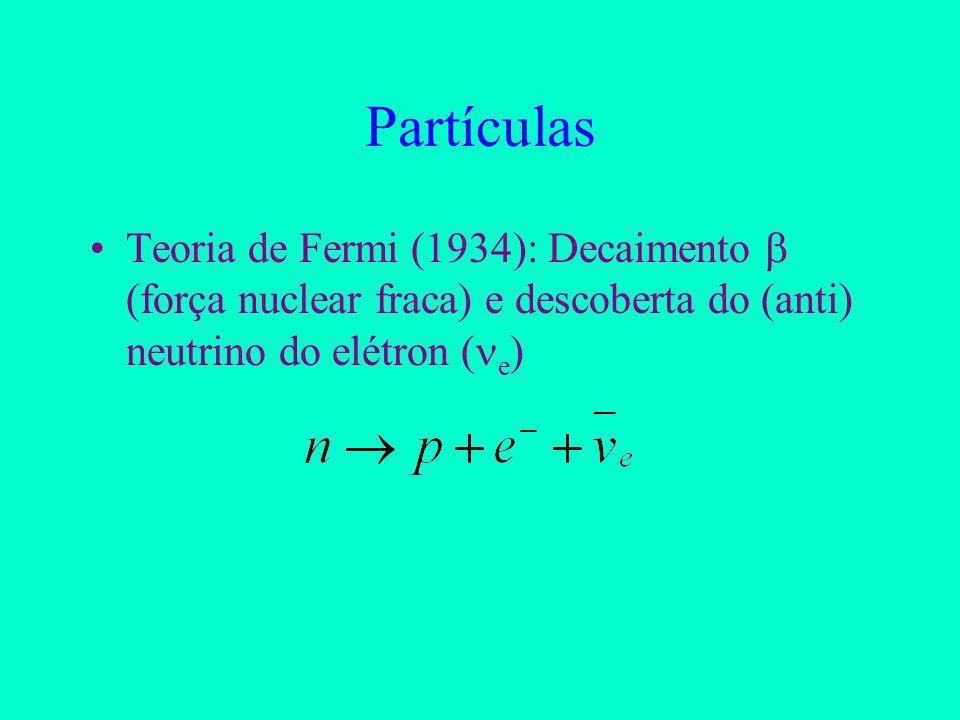 Partículas Teoria de Fermi (1934): Decaimento  (força nuclear fraca) e descoberta do (anti) neutrino do elétron (e)
