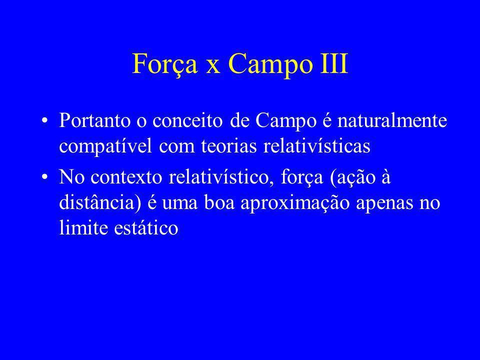 Força x Campo III Portanto o conceito de Campo é naturalmente compatível com teorias relativísticas.