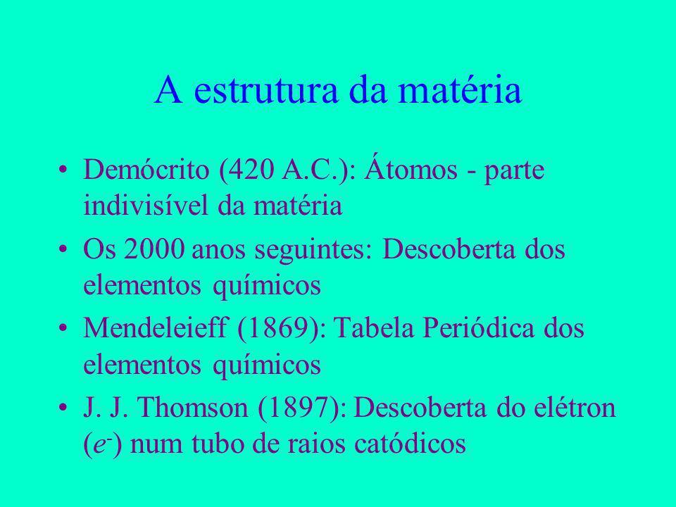 A estrutura da matéria Demócrito (420 A.C.): Átomos - parte indivisível da matéria. Os 2000 anos seguintes: Descoberta dos elementos químicos.