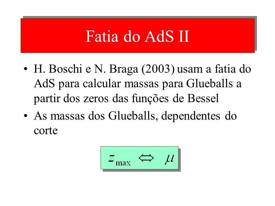 Fatia do AdS II H. Boschi e N. Braga (2003) usam a fatia do AdS para calcular massas para Glueballs a partir dos zeros das funções de Bessel.