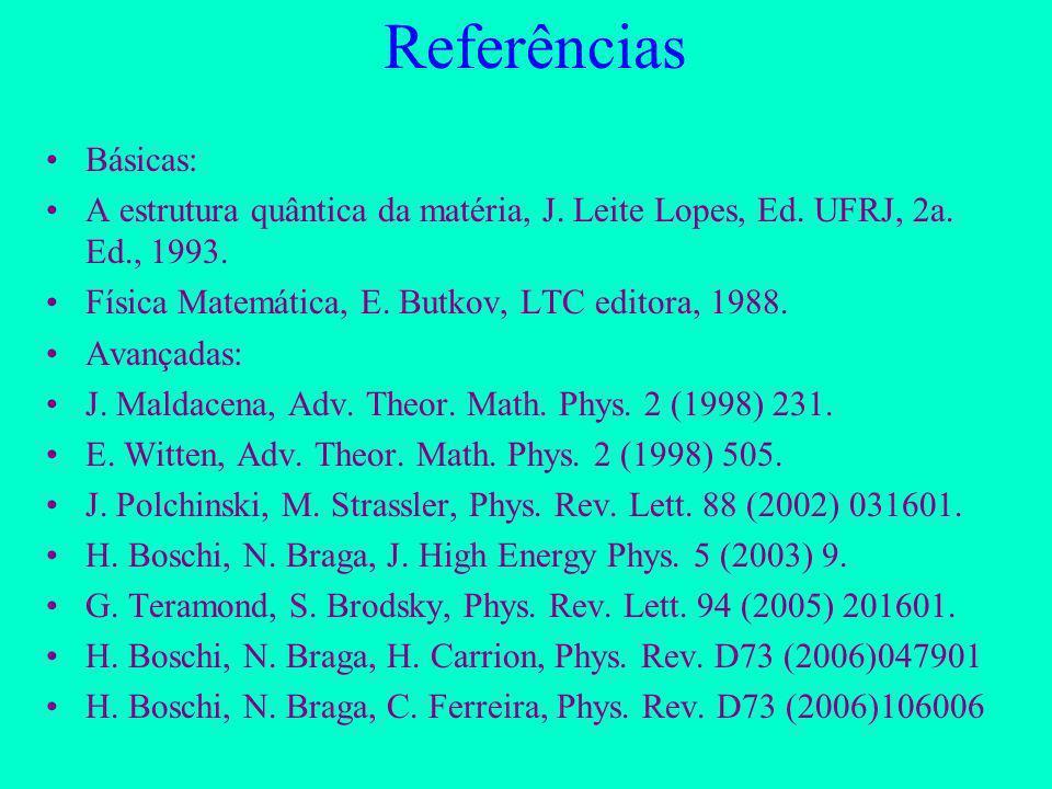 Referências Básicas: A estrutura quântica da matéria, J. Leite Lopes, Ed. UFRJ, 2a. Ed., 1993. Física Matemática, E. Butkov, LTC editora, 1988.