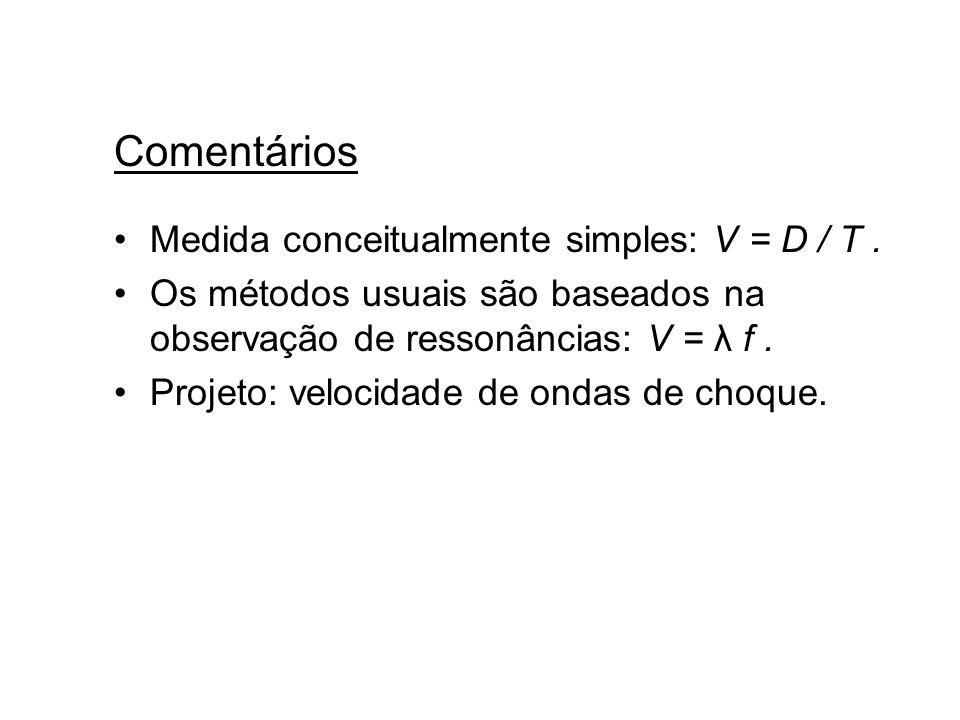Comentários Medida conceitualmente simples: V = D / T .
