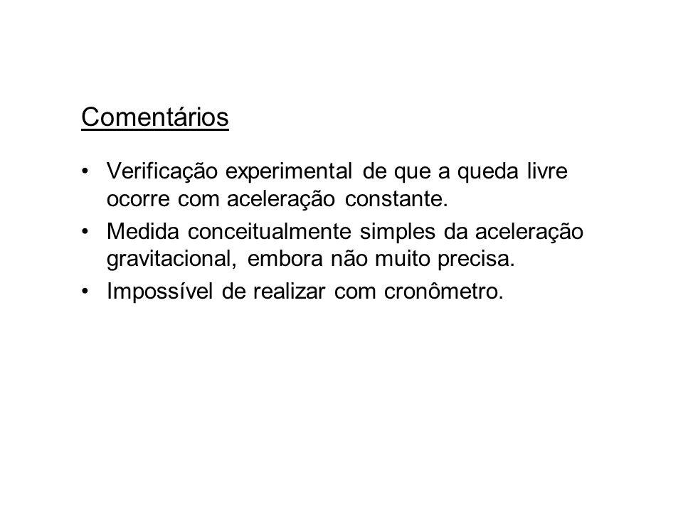 ComentáriosVerificação experimental de que a queda livre ocorre com aceleração constante.