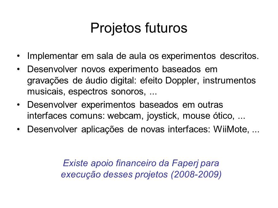 Projetos futuros Implementar em sala de aula os experimentos descritos.
