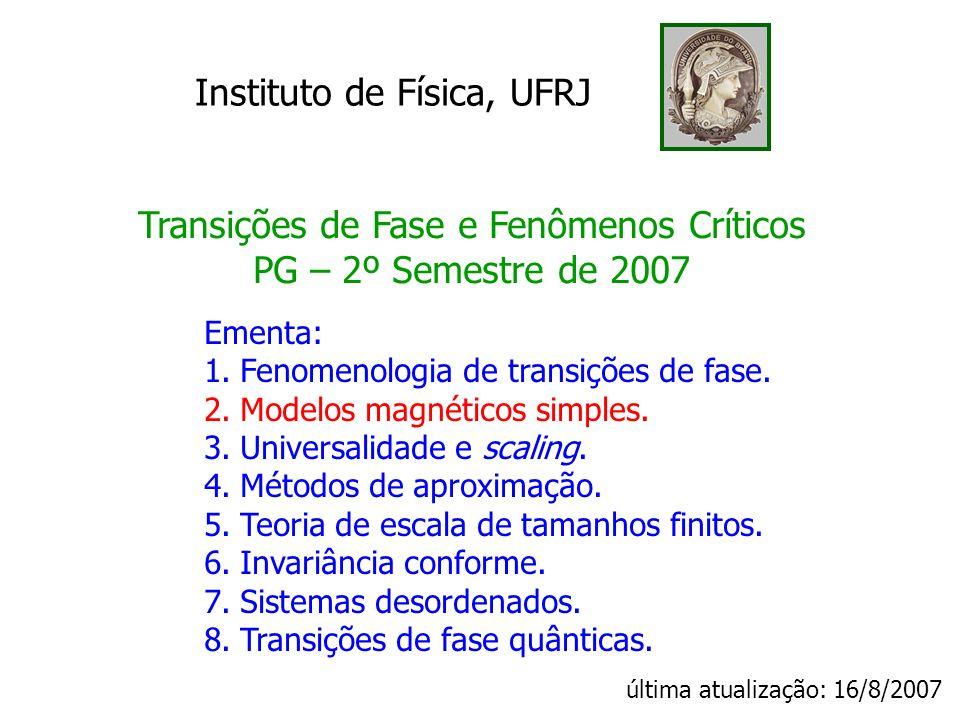Transições de Fase e Fenômenos Críticos