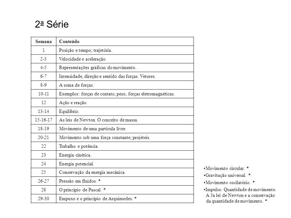 2a Série Semana Conteúdo 1 Posição e tempo; trajetória. 2-3