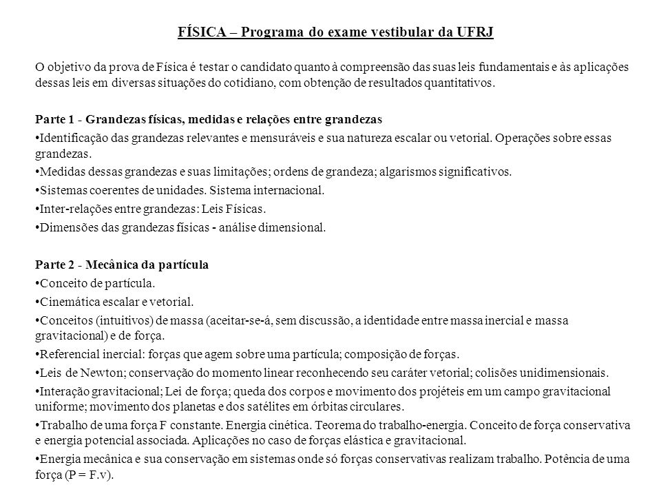 FÍSICA – Programa do exame vestibular da UFRJ