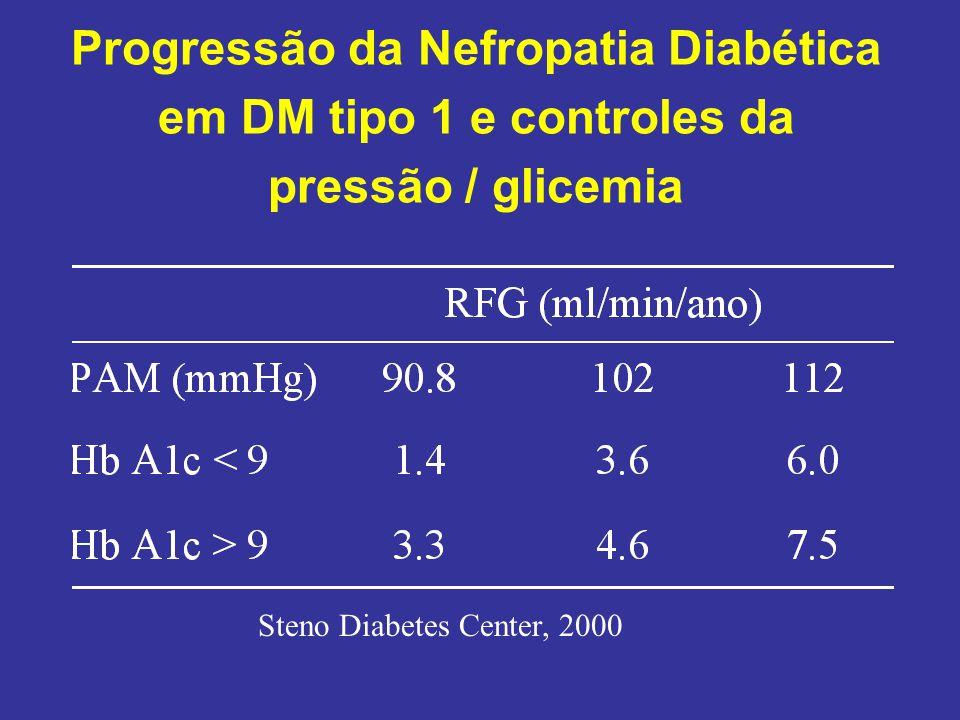 Progressão da Nefropatia Diabética em DM tipo 1 e controles da pressão / glicemia