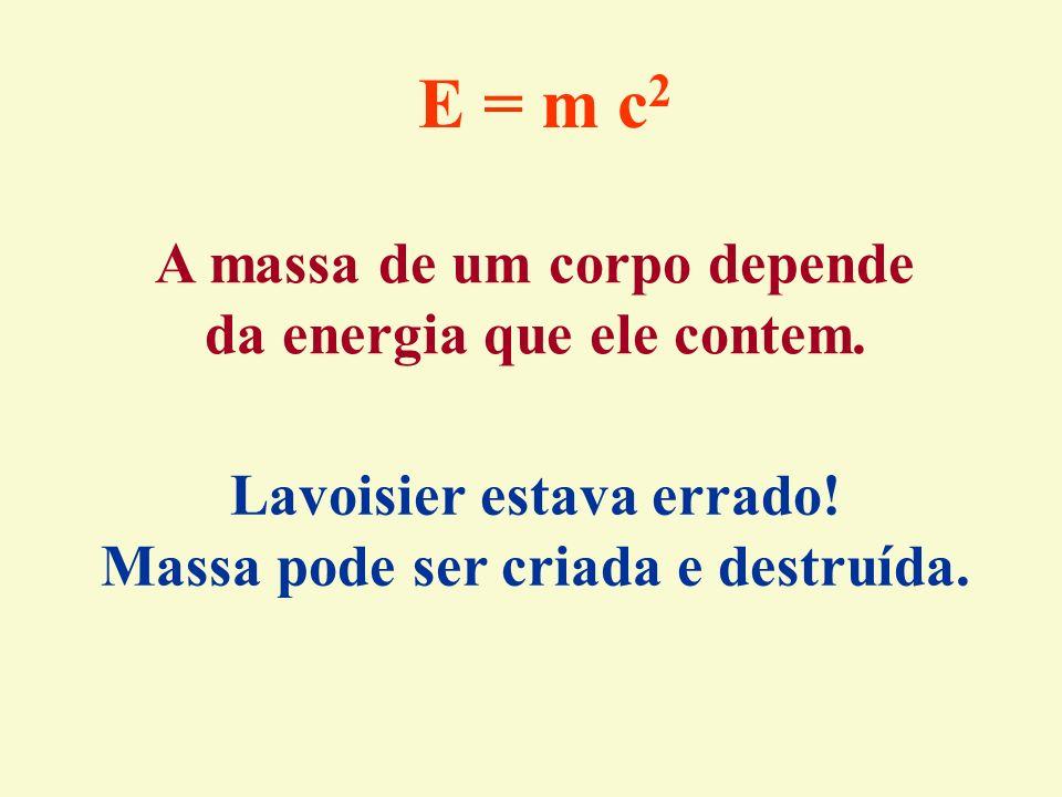 E = m c2 A massa de um corpo depende da energia que ele contem.