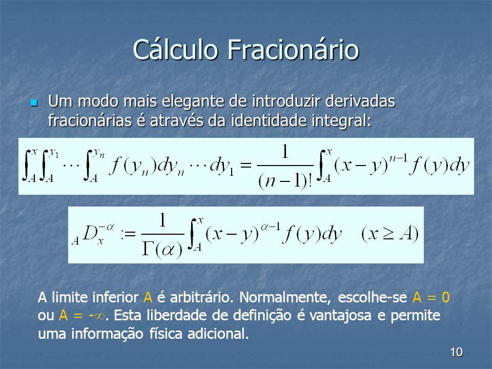 Cálculo Fracionário Um modo mais elegante de introduzir derivadas fracionárias é através da identidade integral: