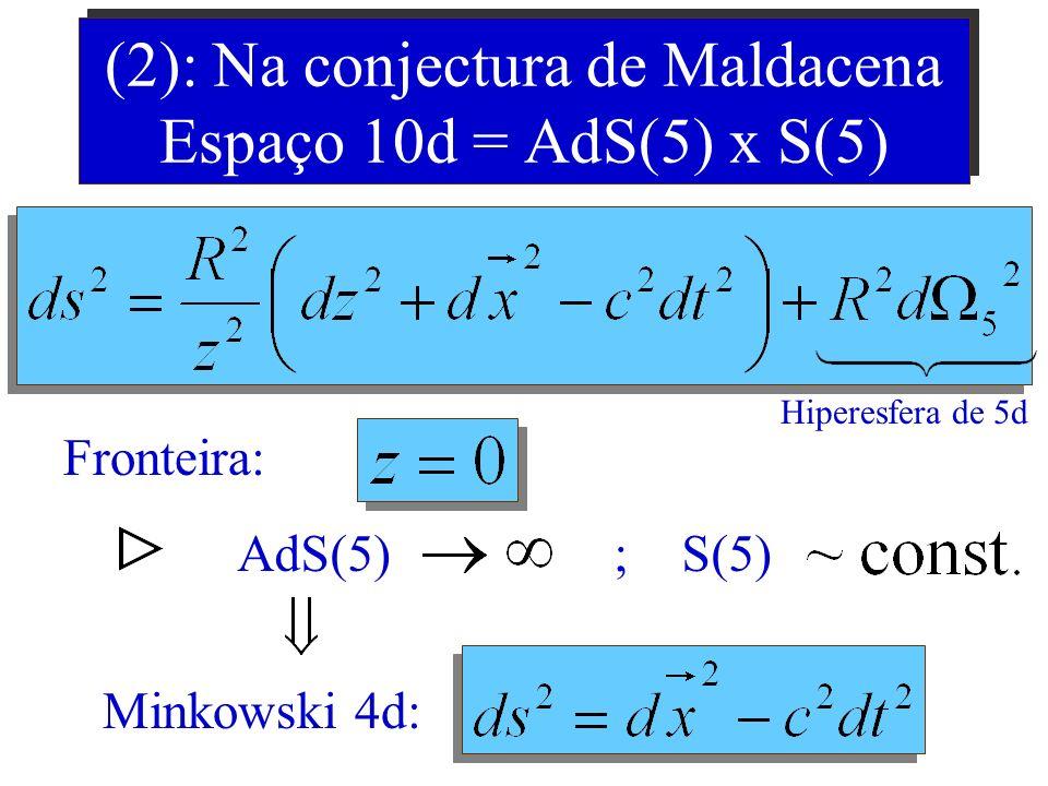 (2): Na conjectura de Maldacena Espaço 10d = AdS(5) x S(5)