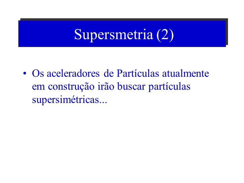 Supersmetria (2) Os aceleradores de Partículas atualmente em construção irão buscar partículas supersimétricas...