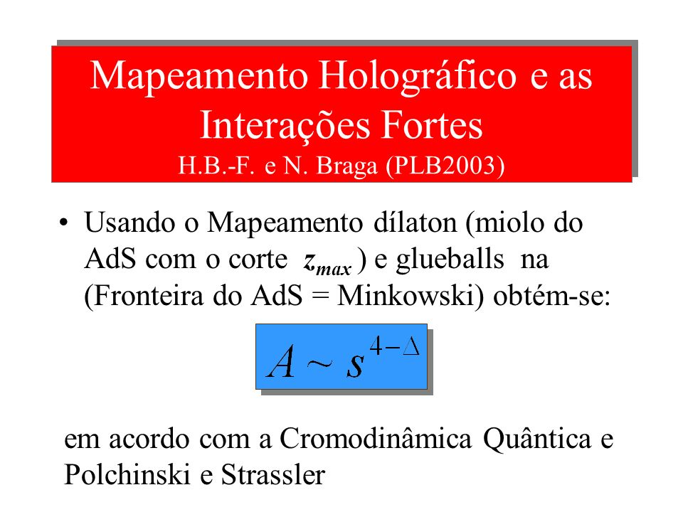 Mapeamento Holográfico e as Interações Fortes H. B. -F. e N