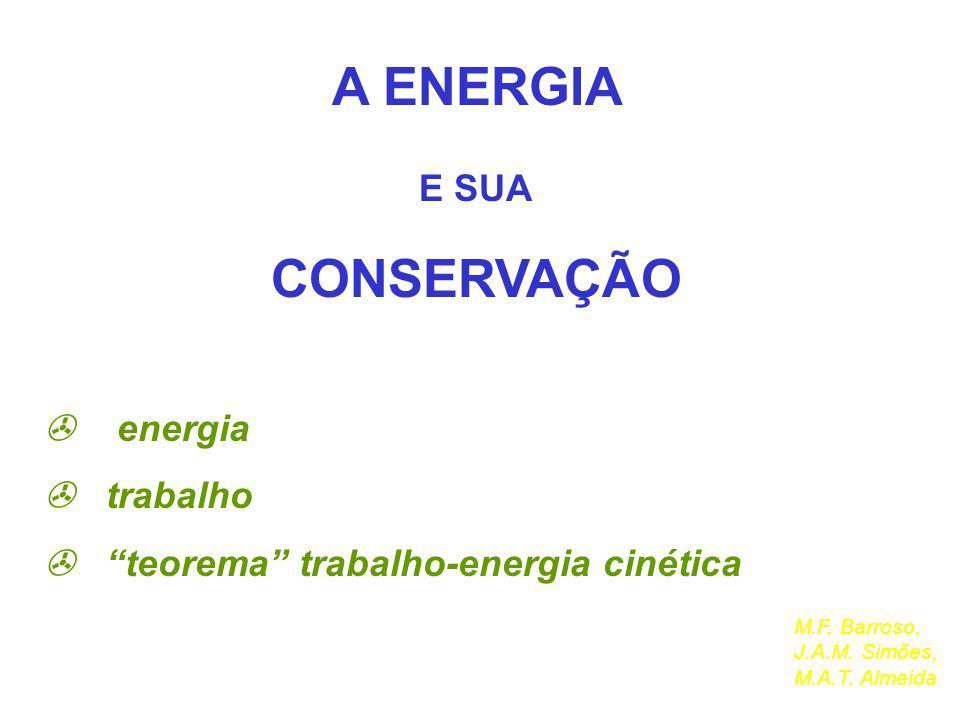 A ENERGIA CONSERVAÇÃO E SUA  energia  trabalho