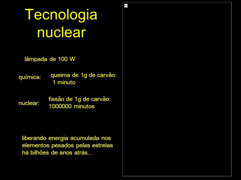Tecnologia nuclear lâmpada de 100 W queima de 1g de carvão: química: