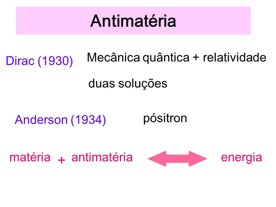 Antimatéria + Mecânica quântica + relatividade duas soluções